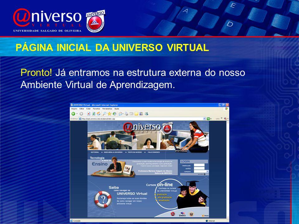 Pronto! Já entramos na estrutura externa do nosso Ambiente Virtual de Aprendizagem. PÁGINA INICIAL DA UNIVERSO VIRTUAL