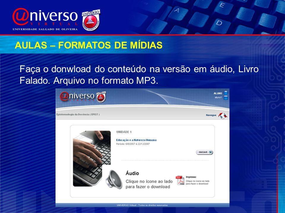 AULAS – FORMATOS DE MÍDIAS Faça o donwload do conteúdo na versão em áudio, Livro Falado. Arquivo no formato MP3.