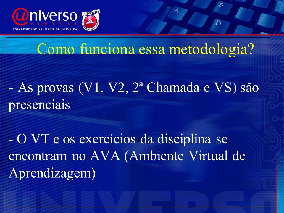 Como funciona essa metodologia? - As provas (V1, V2, 2ª Chamada e VS) são presenciais - O VT e os exercícios da disciplina se encontram no AVA (Ambien
