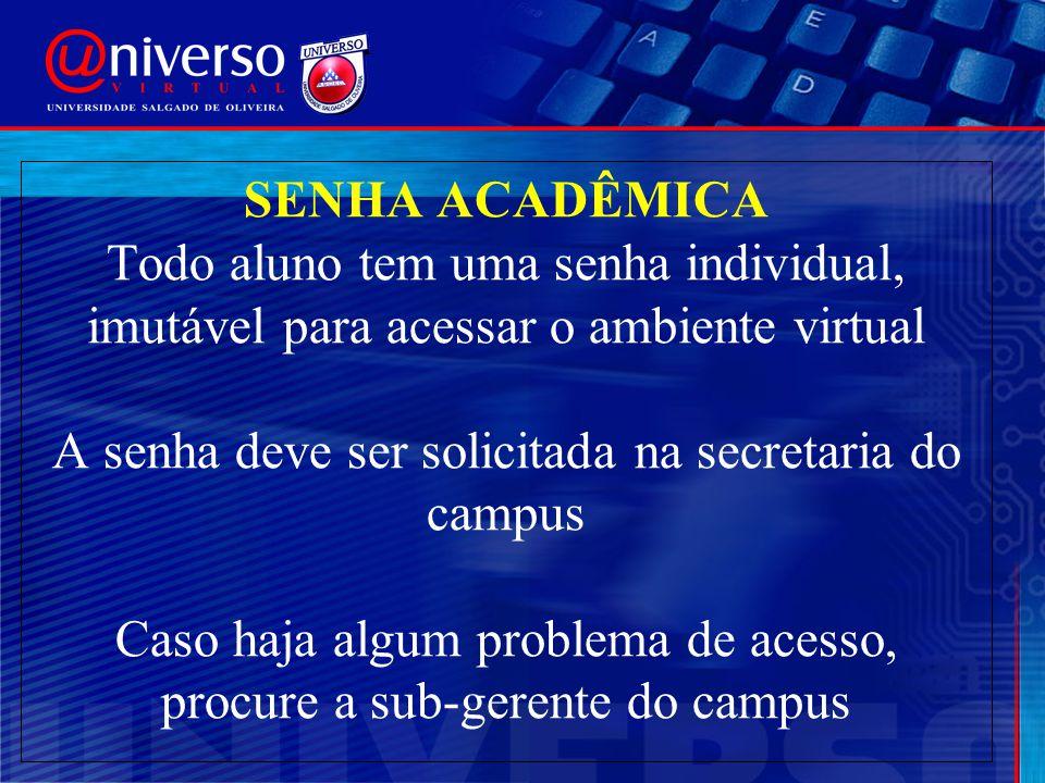 SENHA ACADÊMICA Todo aluno tem uma senha individual, imutável para acessar o ambiente virtual A senha deve ser solicitada na secretaria do campus Caso
