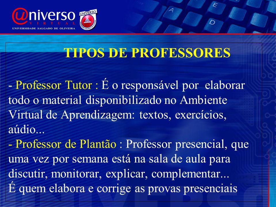TIPOS DE PROFESSORES - Professor Tutor : É o responsável por elaborar todo o material disponibilizado no Ambiente Virtual de Aprendizagem: textos, exe