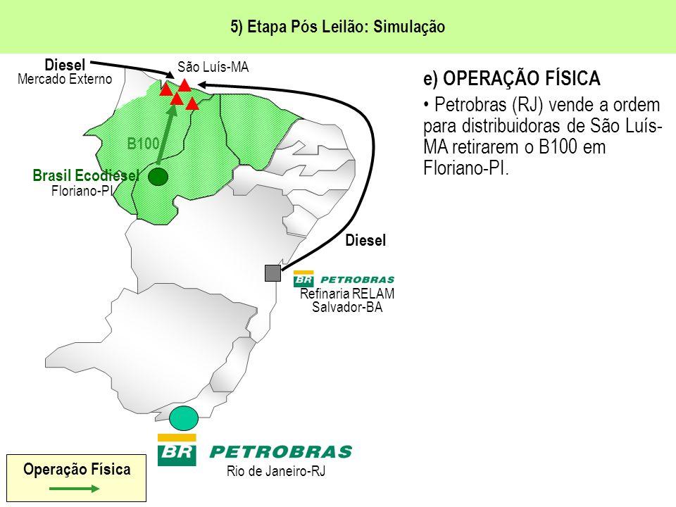 5) Etapa Pós Leilão: Simulação e) OPERAÇÃO FÍSICA Petrobras (RJ) vende a ordem para distribuidoras de São Luís- MA retirarem o B100 em Floriano-PI.