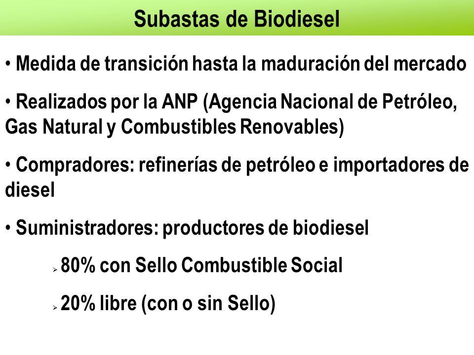 Subastas de Biodiesel Medida de transición hasta la maduración del mercado Realizados por la ANP (Agencia Nacional de Petróleo, Gas Natural y Combustibles Renovables) Compradores: refinerías de petróleo e importadores de diesel Suministradores: productores de biodiesel  80% con Sello Combustible Social  20% libre (con o sin Sello)