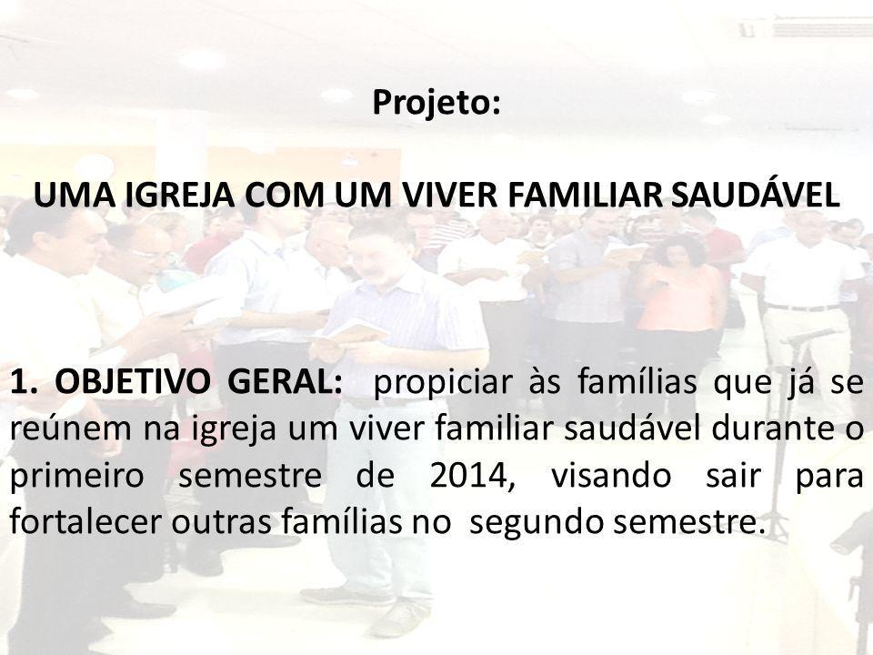 Projeto: UMA IGREJA COM UM VIVER FAMILIAR SAUDÁVEL 1. OBJETIVO GERAL: propiciar às famílias que já se reúnem na igreja um viver familiar saudável dura