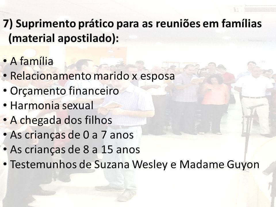 7) Suprimento prático para as reuniões em famílias (material apostilado): A família Relacionamento marido x esposa Orçamento financeiro Harmonia sexua