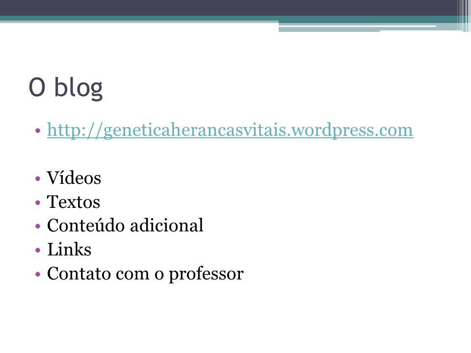 O blog http://geneticaherancasvitais.wordpress.com Vídeos Textos Conteúdo adicional Links Contato com o professor