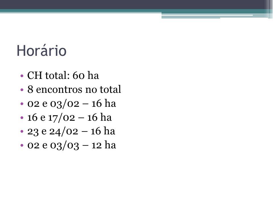Horário CH total: 60 ha 8 encontros no total 02 e 03/02 – 16 ha 16 e 17/02 – 16 ha 23 e 24/02 – 16 ha 02 e 03/03 – 12 ha