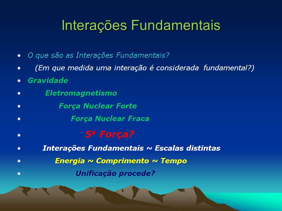 Interações Fundamentais O que são as Interações Fundamentais? (Em que medida uma interação é considerada fundamental?) Gravidade Eletromagnetismo Forç