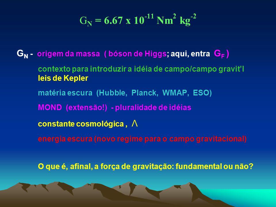 G N = 6.67 x 10 -11 Nm 2 kg -2 G N - origem da massa ( bóson de Higgs; aqui, entra G F ) contexto para introduzir a idéia de campo/campo gravit'l leis