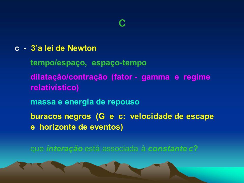c c - 3'a lei de Newton tempo/espaço, espaço-tempo dilatação/contração (fator - gamma e regime relativístico) massa e energia de repouso buracos negro