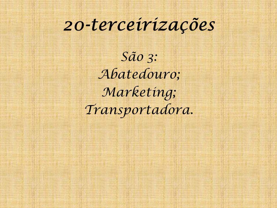 20-terceirizações São 3: Abatedouro; Marketing; Transportadora.
