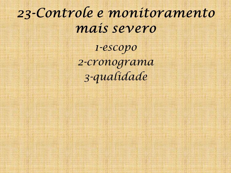 23-Controle e monitoramento mais severo 1-escopo 2-cronograma 3-qualidade