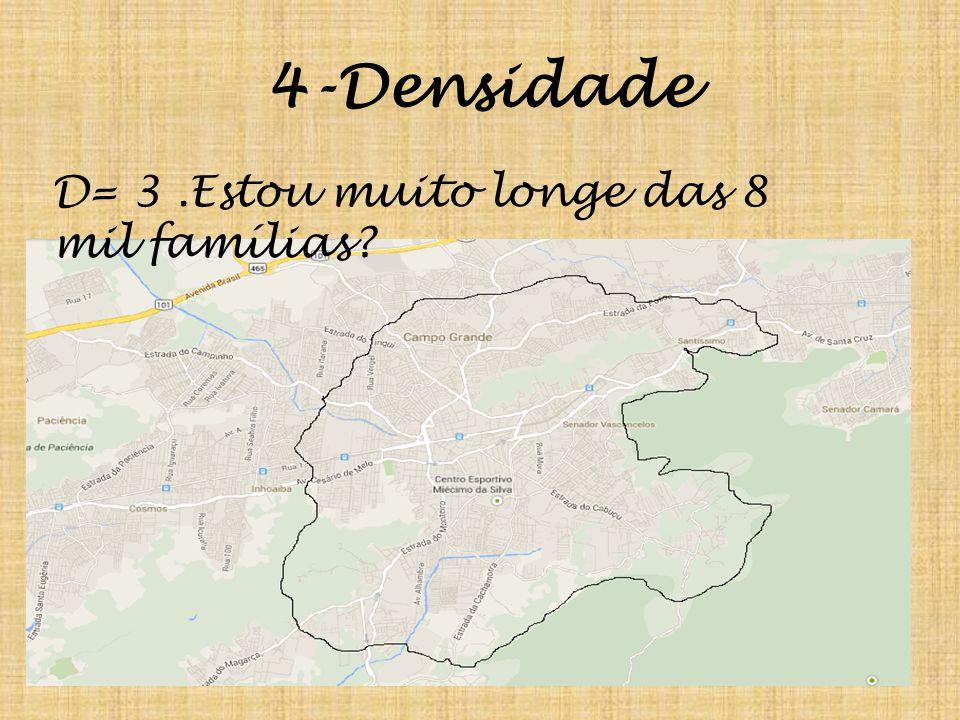 4-Densidade D= 3.Estou muito longe das 8 mil famílias?