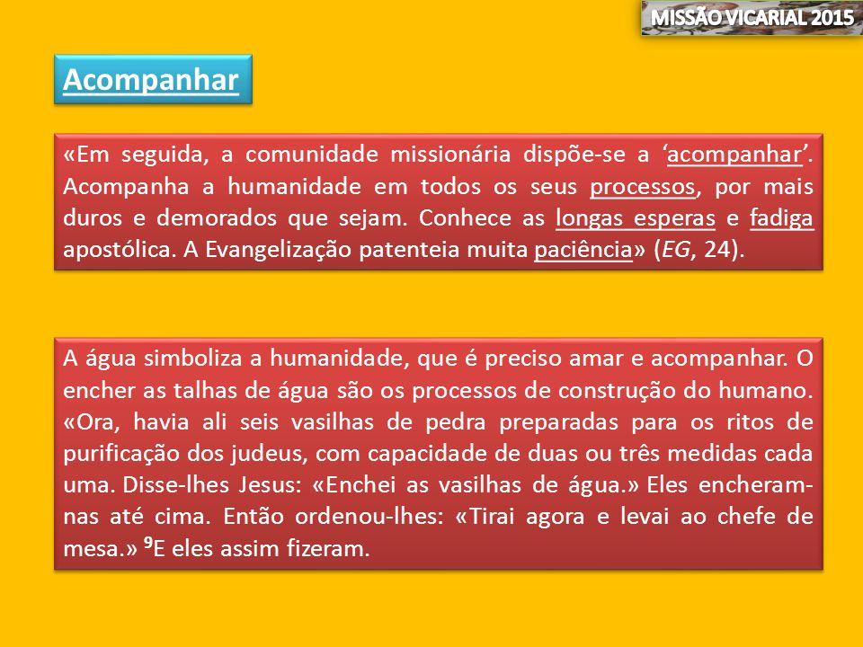 Acompanhar «Em seguida, a comunidade missionária dispõe-se a 'acompanhar'. Acompanha a humanidade em todos os seus processos, por mais duros e demorad
