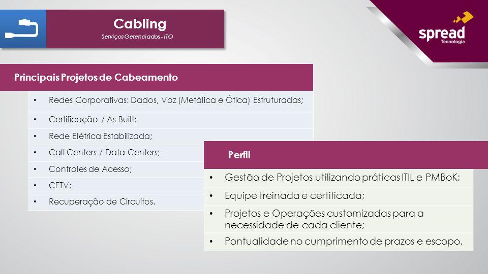 Serviços Gerenciados - ITO Cabling Redes Corporativas: Dados, Voz (Metálica e Ótica) Estruturadas; Certificação / As Built; Rede Elétrica Estabilizada