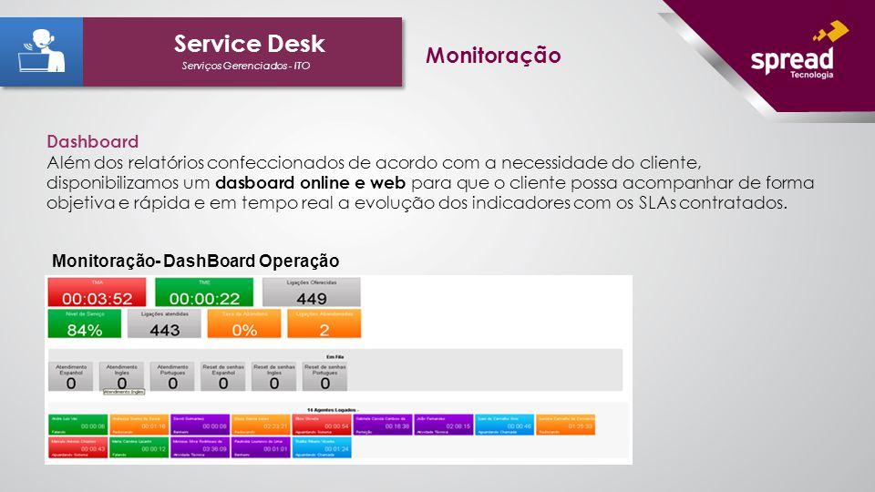 Dashboard Além dos relatórios confeccionados de acordo com a necessidade do cliente, disponibilizamos um dasboard online e web para que o cliente poss