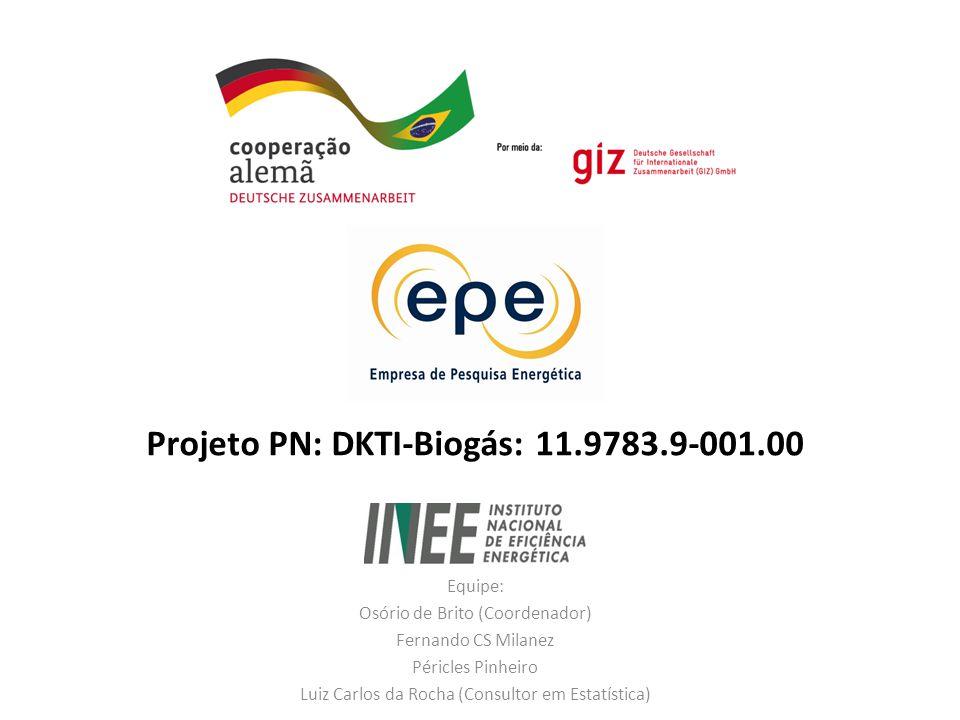 Projeto PN: DKTI-Biogás: 11.9783.9-001.00 Equipe: Osório de Brito (Coordenador) Fernando CS Milanez Péricles Pinheiro Luiz Carlos da Rocha (Consultor em Estatística)