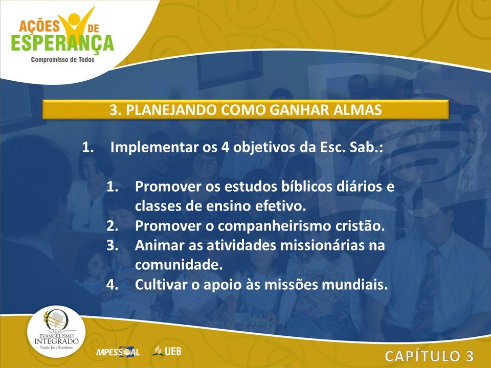 1.Implementar os 4 objetivos da Esc. Sab.: 1.Promover os estudos bíblicos diários e classes de ensino efetivo. 2.Promover o companheirismo cristão. 3.