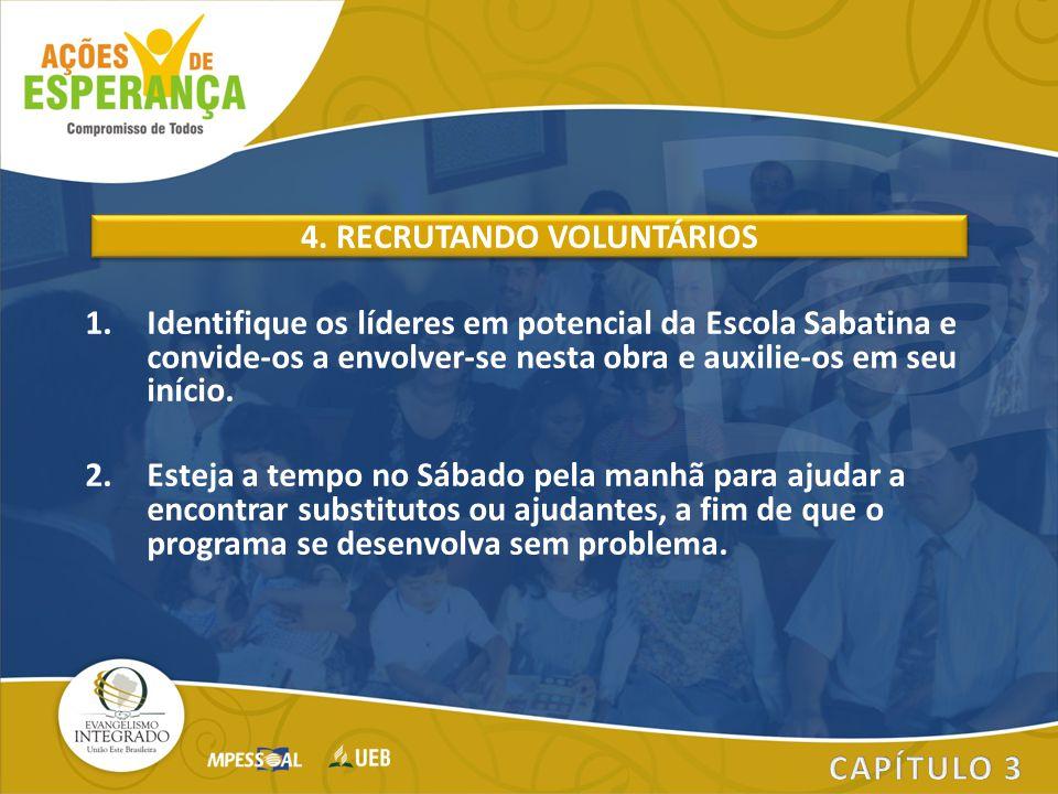 1.Identifique os líderes em potencial da Escola Sabatina e convide-os a envolver-se nesta obra e auxilie-os em seu início. 2.Esteja a tempo no Sábado