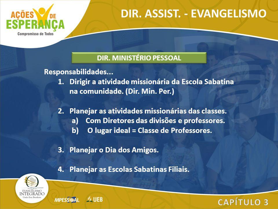 Responsabilidades... 1.Dirigir a atividade missionária da Escola Sabatina na comunidade. (Dir. Min. Per.) 2.Planejar as atividades missionárias das cl