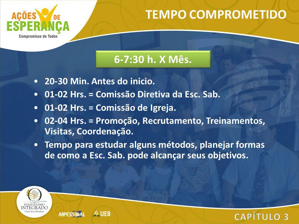 20-30 Min. Antes do inicio. 01-02 Hrs. = Comissão Diretiva da Esc. Sab. 01-02 Hrs. = Comissão de Igreja. 02-04 Hrs. = Promoção, Recrutamento, Treiname