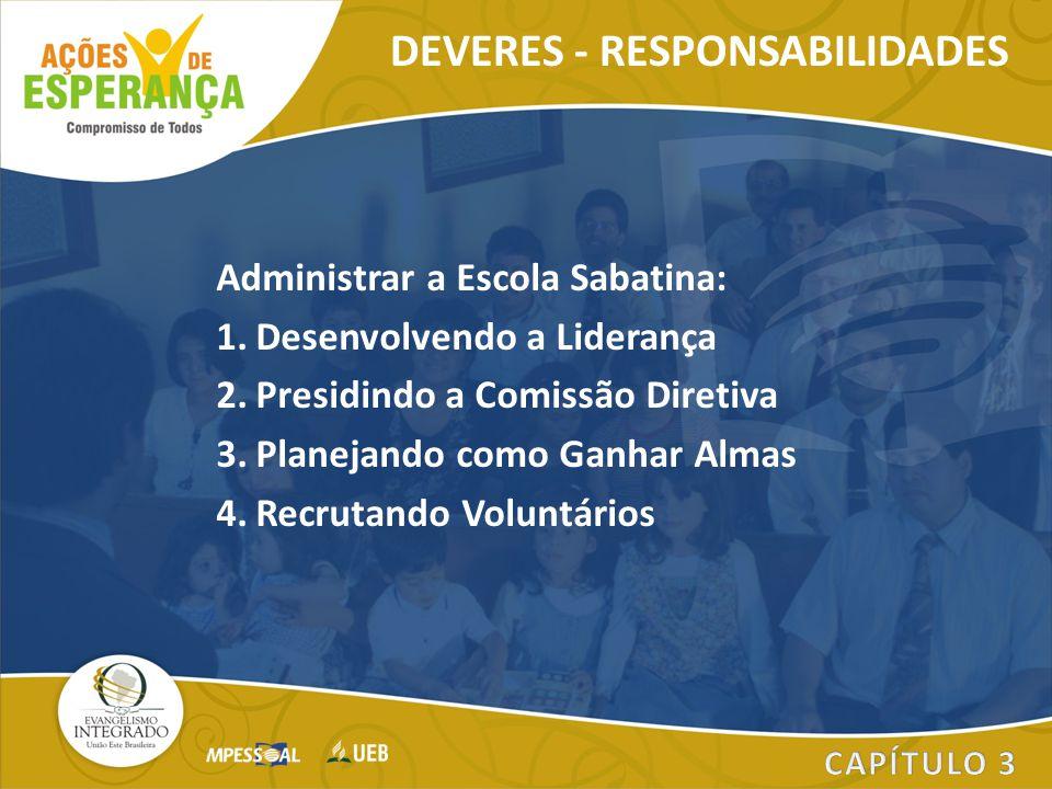 Administrar a Escola Sabatina: 1.Desenvolvendo a Liderança 2.Presidindo a Comissão Diretiva 3.Planejando como Ganhar Almas 4.Recrutando Voluntários DE
