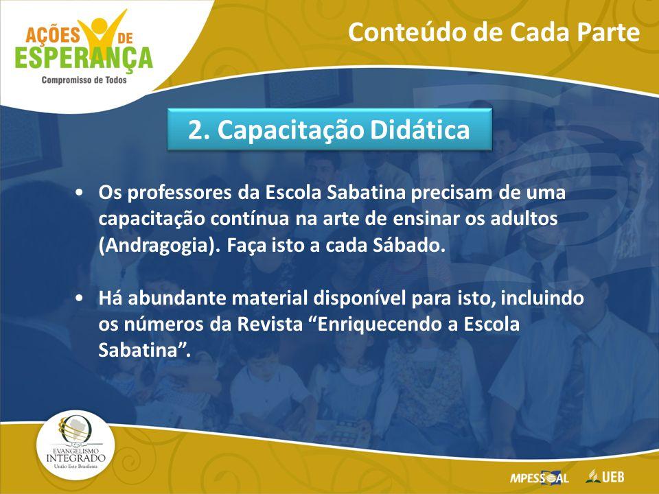 Os professores da Escola Sabatina precisam de uma capacitação contínua na arte de ensinar os adultos (Andragogia).