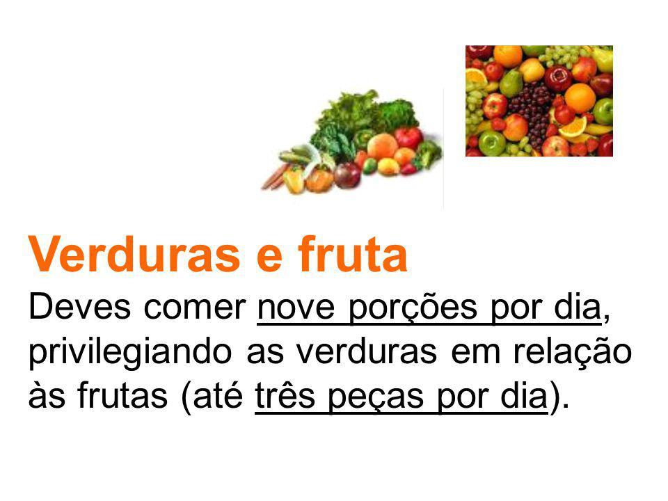Verduras e fruta Deves comer nove porções por dia, privilegiando as verduras em relação às frutas (até três peças por dia).