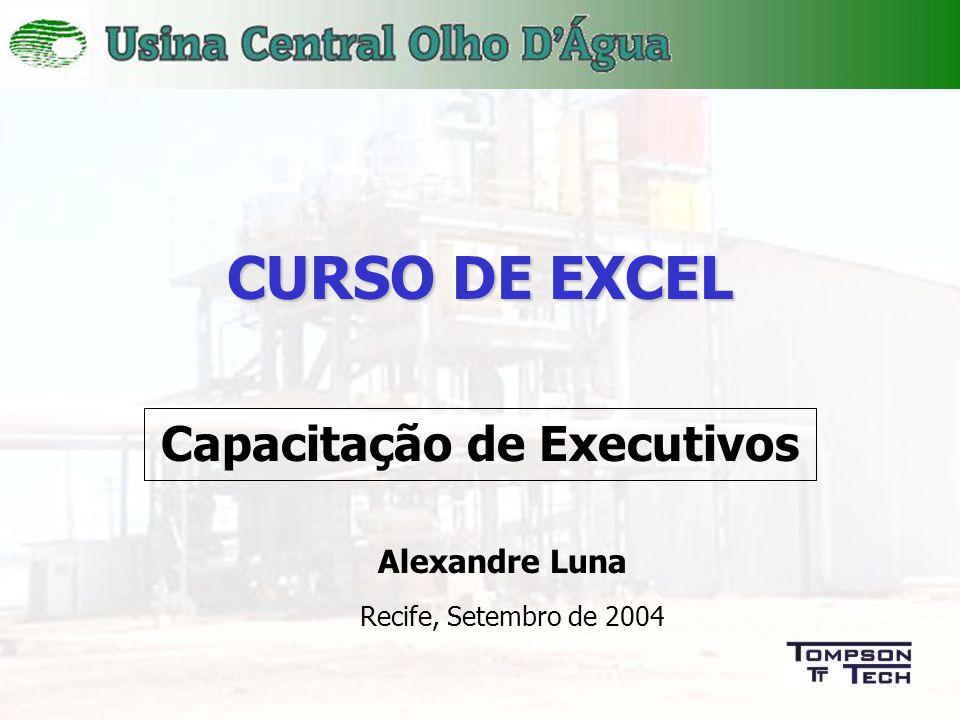 1 CURSO DE EXCEL Capacitação de Executivos Recife, Setembro de 2004 Alexandre Luna