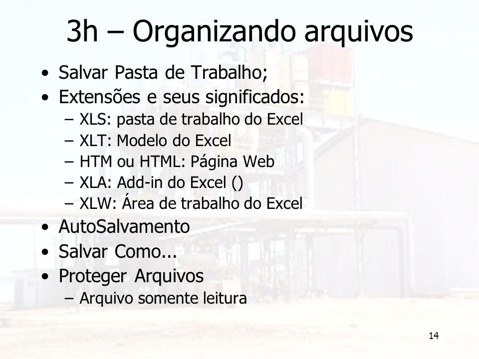14 3h – Organizando arquivos Salvar Pasta de Trabalho; Extensões e seus significados: –XLS: pasta de trabalho do Excel –XLT: Modelo do Excel –HTM ou H