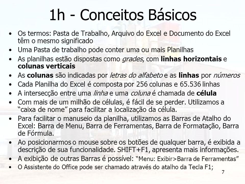 7 1h - Conceitos Básicos Os termos: Pasta de Trabalho, Arquivo do Excel e Documento do Excel têm o mesmo significado Uma Pasta de trabalho pode conter