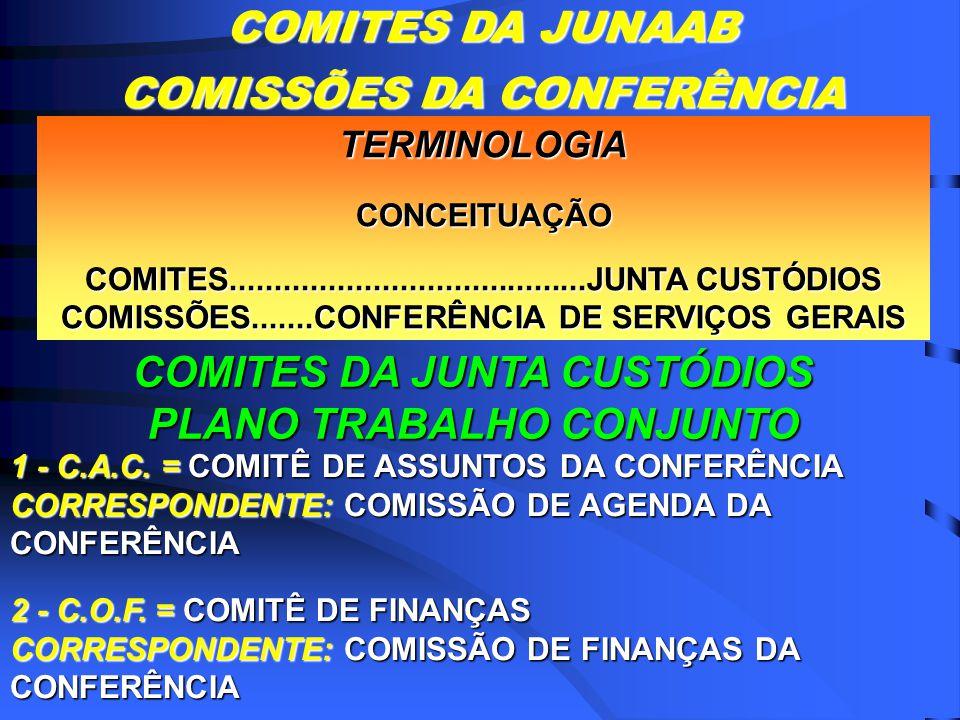 TERMINOLOGIACONCEITUAÇÃO COMITES........................................JUNTA CUSTÓDIOS COMISSÕES.......CONFERÊNCIA DE SERVIÇOS GERAIS COMITES DA JUNTA CUSTÓDIOS PLANO TRABALHO CONJUNTO 1 - C.A.C.