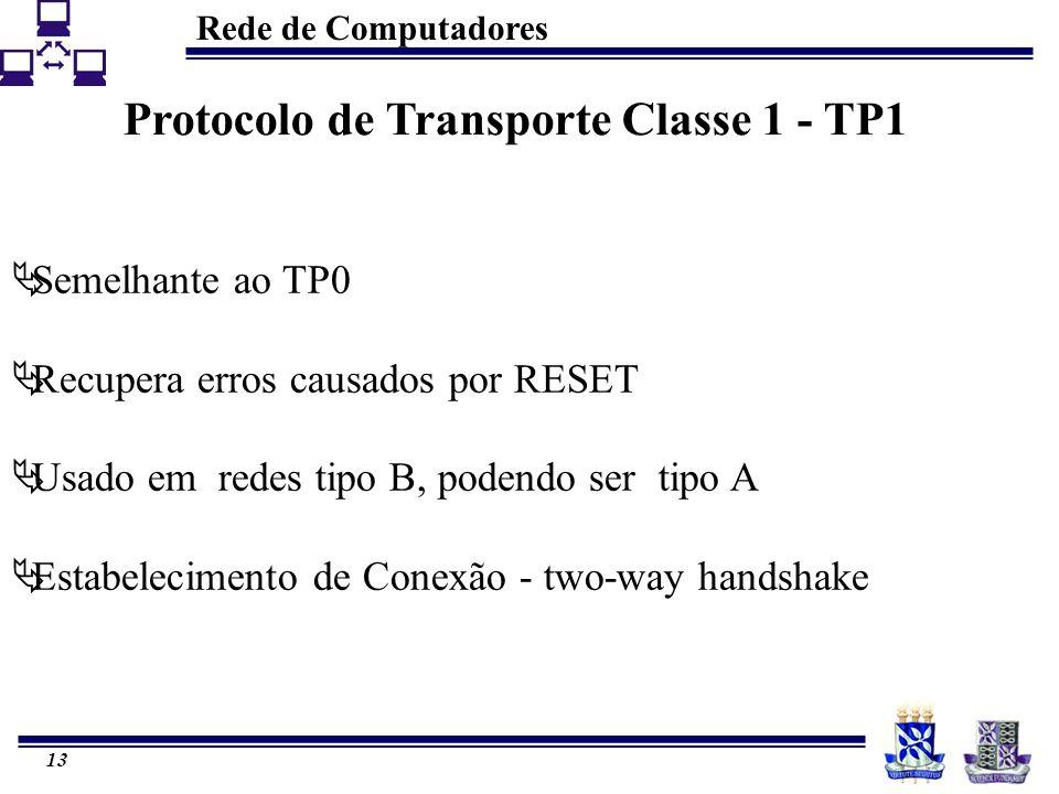 Rede de Computadores 13 Protocolo de Transporte Classe 1 - TP1  Semelhante ao TP0  Recupera erros causados por RESET  Usado em redes tipo B, podendo ser tipo A  Estabelecimento de Conexão - two-way handshake