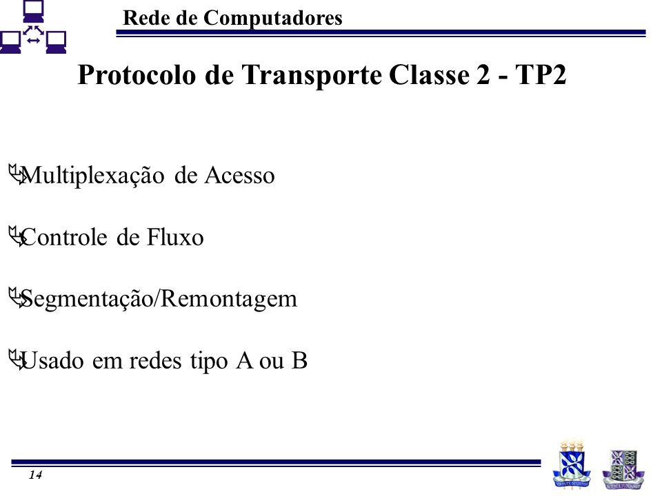 Rede de Computadores 14 Protocolo de Transporte Classe 2 - TP2  Multiplexação de Acesso  Controle de Fluxo  Segmentação/Remontagem  Usado em redes tipo A ou B