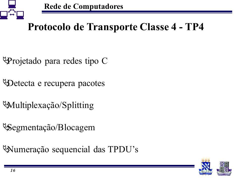 Rede de Computadores 16 Protocolo de Transporte Classe 4 - TP4  Projetado para redes tipo C  Detecta e recupera pacotes  Multiplexação/Splitting  Segmentação/Blocagem  Numeração sequencial das TPDU's