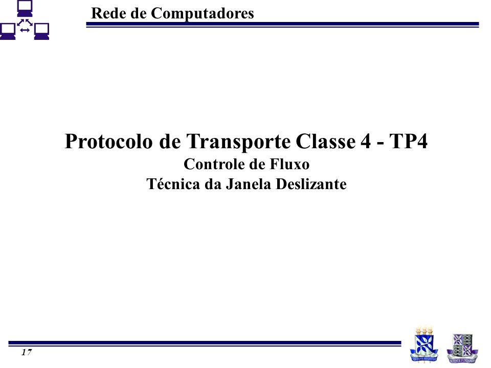 Rede de Computadores 17 Protocolo de Transporte Classe 4 - TP4 Controle de Fluxo Técnica da Janela Deslizante