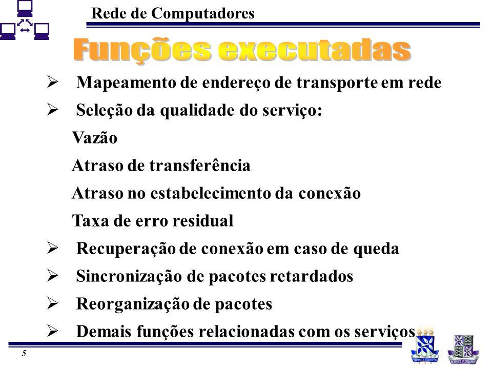 Rede de Computadores 5  Mapeamento de endereço de transporte em rede  Seleção da qualidade do serviço: Vazão Atraso de transferência Atraso no estabelecimento da conexão Taxa de erro residual  Recuperação de conexão em caso de queda  Sincronização de pacotes retardados  Reorganização de pacotes  Demais funções relacionadas com os serviços