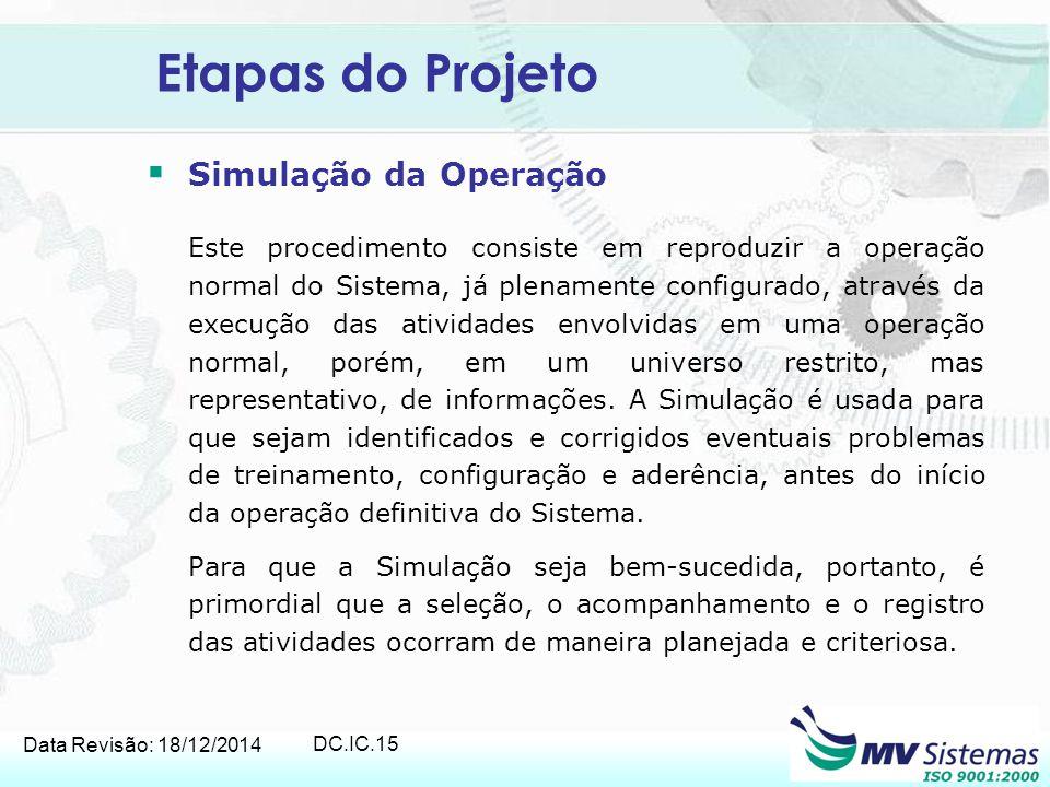 Data Revisão: 18/12/2014 DC.IC.15 Etapas do Projeto  Simulação da Operação Este procedimento consiste em reproduzir a operação normal do Sistema, já