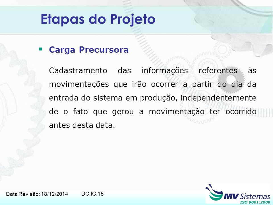 Data Revisão: 18/12/2014 DC.IC.15 Etapas do Projeto  Carga Precursora Cadastramento das informações referentes às movimentações que irão ocorrer a pa