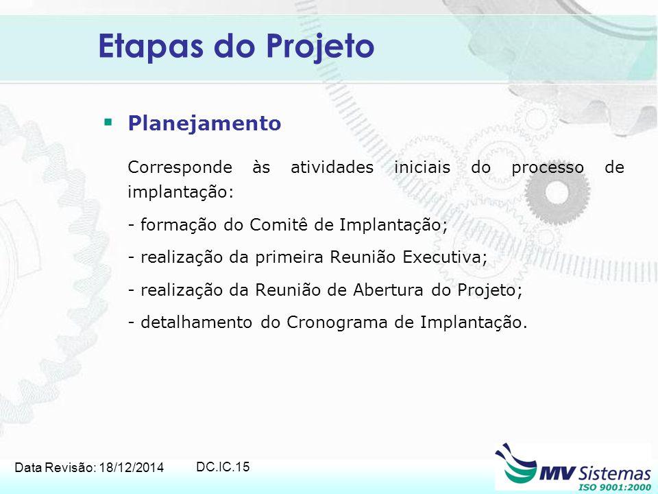 Data Revisão: 18/12/2014 DC.IC.15 Etapas do Projeto  Planejamento Corresponde às atividades iniciais do processo de implantação: - formação do Comitê
