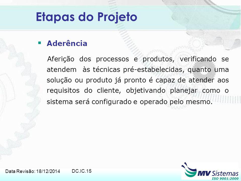 Data Revisão: 18/12/2014 DC.IC.15 Etapas do Projeto  Aderência Aferição dos processos e produtos, verificando se atendem às técnicas pré-estabelecida
