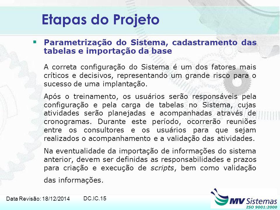 Data Revisão: 18/12/2014 DC.IC.15 Etapas do Projeto  Parametrização do Sistema, cadastramento das tabelas e importação da base A correta configuração