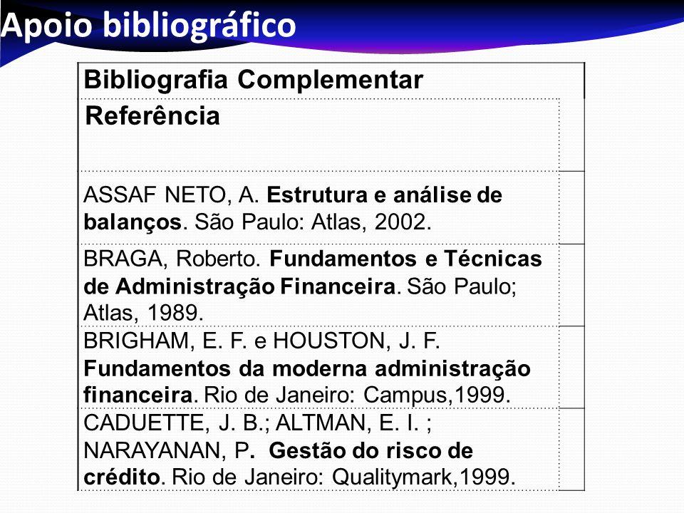Apoio bibliográfico Bibliografia Complementar Referência ASSAF NETO, A. Estrutura e análise de balanços. São Paulo: Atlas, 2002. BRAGA, Roberto. Funda