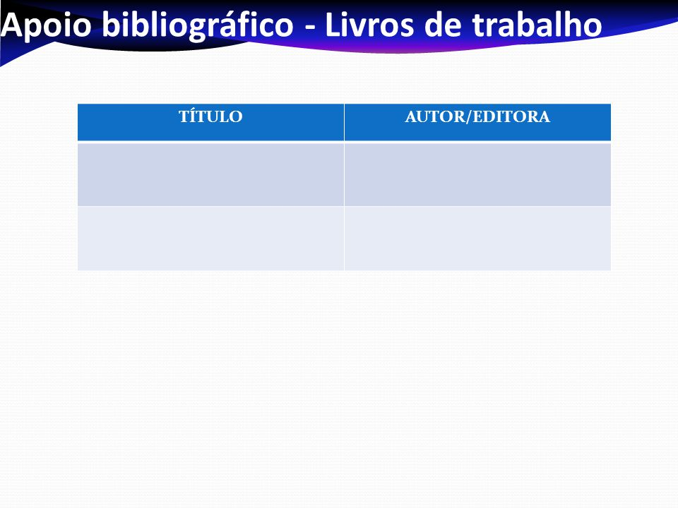 Apoio bibliográfico - Livros de trabalho TÍTULOAUTOR/EDITORA