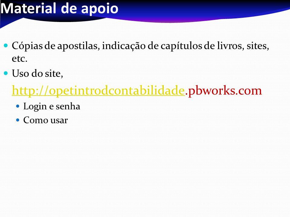 Material de apoio Cópias de apostilas, indicação de capítulos de livros, sites, etc. Uso do site, http://opetintrodcontabilidadehttp://opetintrodconta