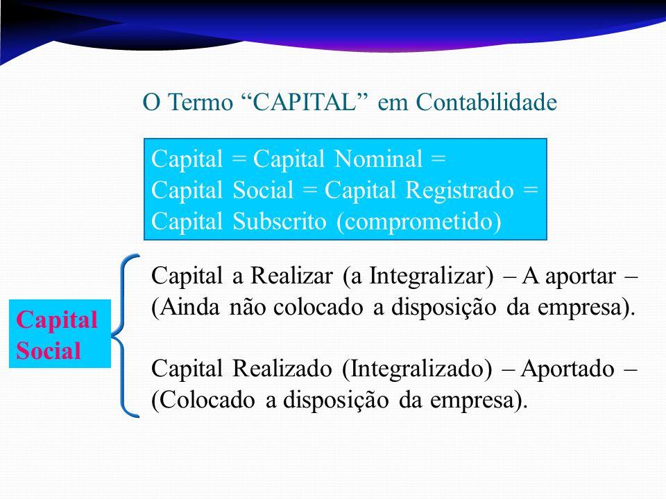 Capital a Realizar (a Integralizar) – A aportar – (Ainda não colocado a disposição da empresa). Capital Realizado (Integralizado) – Aportado – (Coloca
