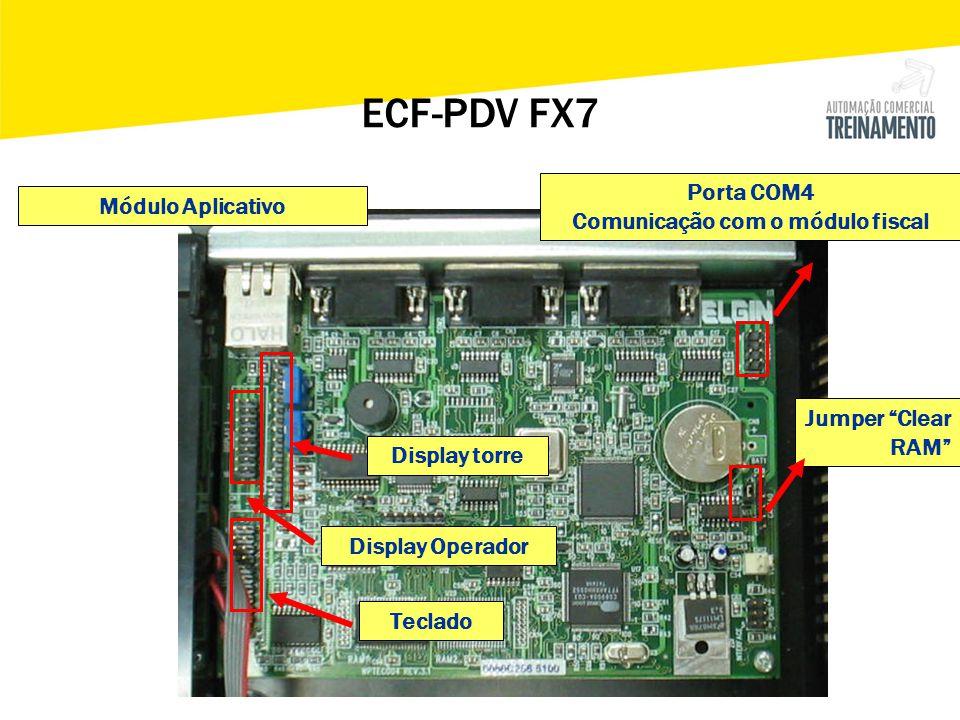 """Módulo Aplicativo Porta COM4 Comunicação com o módulo fiscal Display torre Display Operador Teclado Jumper """"Clear RAM"""" ECF-PDV FX7"""