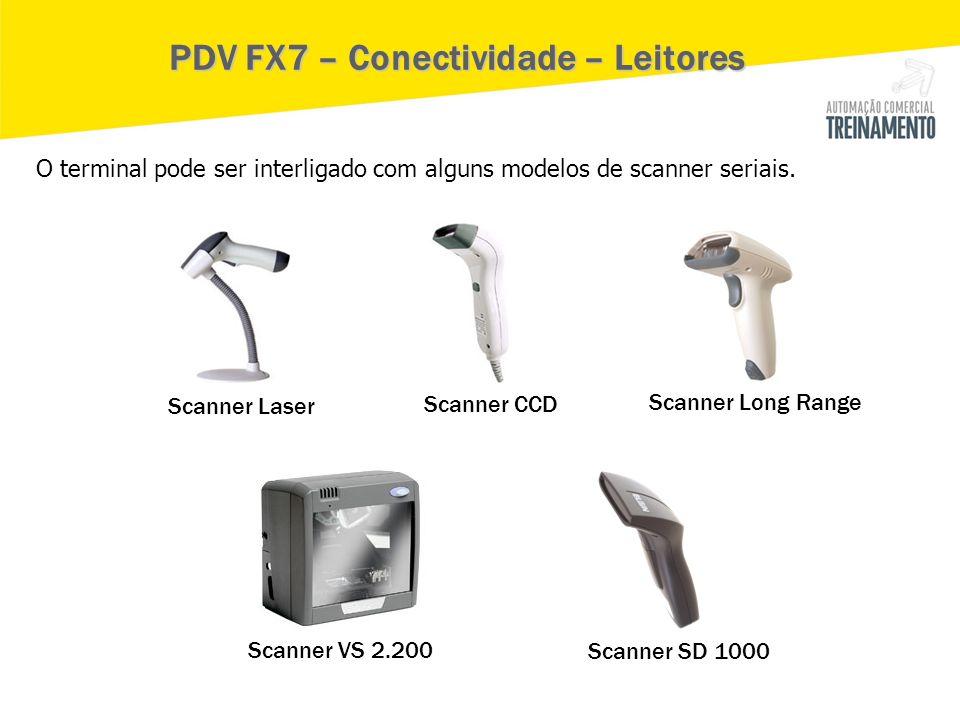 Scanner Laser Scanner CCD Scanner Long Range Scanner VS 2.200 Scanner SD 1000 PDV FX7 – Conectividade – Leitores O terminal pode ser interligado com a