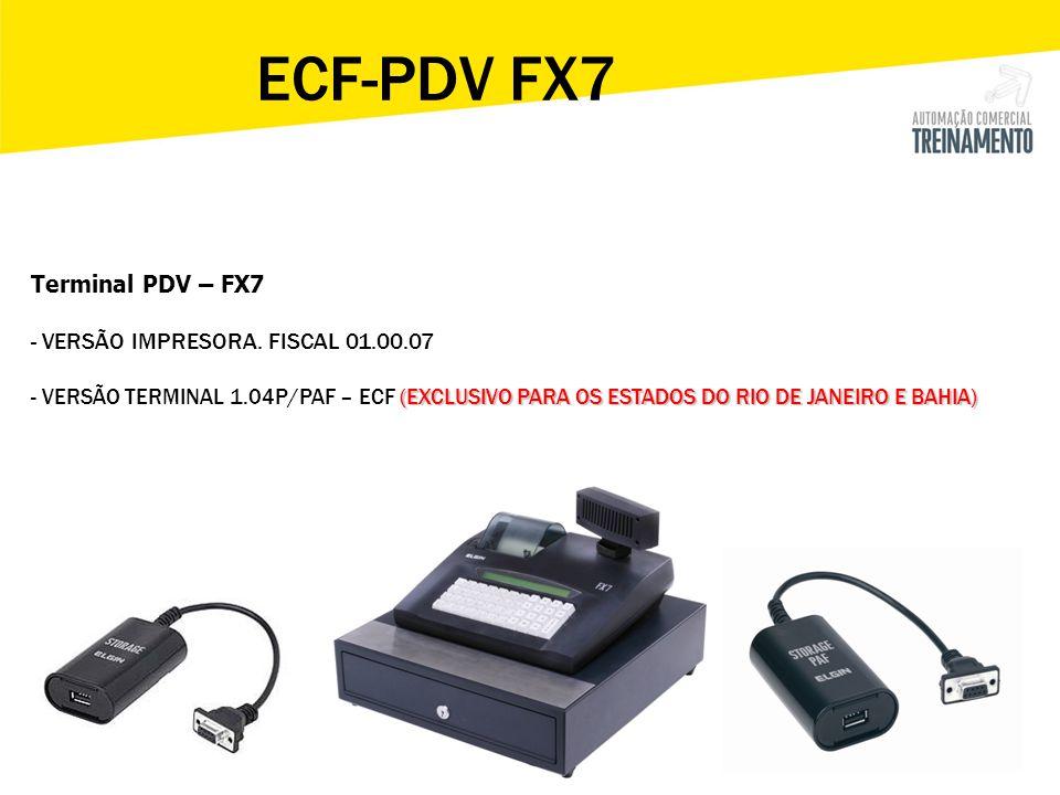 - Produto - Clientes - Operador - Departamento - Entrada de estoque - BD Storage > CADASTRO PDV FX7 – Apresentação dos Menus > Configuração - Meios Pagto - Mensagem venda - Opções - Operação - Rede - Venda Rápida -Teclado -Registrar ECF -Mais opções > RELATÓRIOS -Leitura X -Redução Z -Venda operador -Venda itens -Consulta mov -Venda deptos -Zera operador -Zera venda itens -Zera venda deptos -Reimprime CCd -Cadastros -Sintegra > Aguarde comunicando….