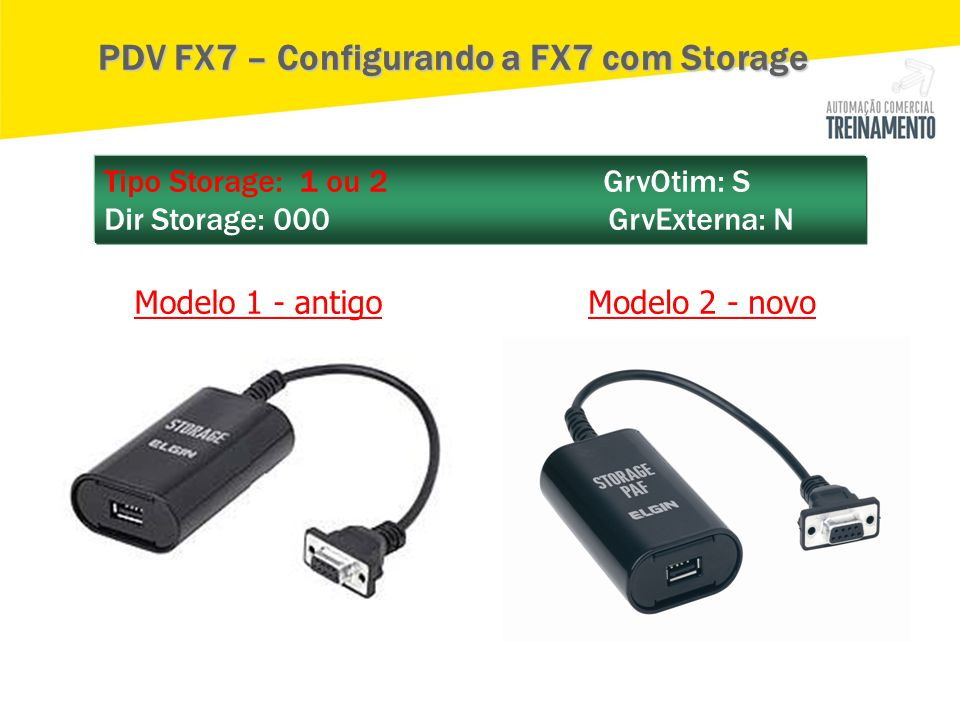 Tipo Storage: 1 ou 2 GrvOtim: S Dir Storage: 000 GrvExterna: N Modelo 1 - antigoModelo 2 - novo PDV FX7 – Configurando a FX7 com Storage